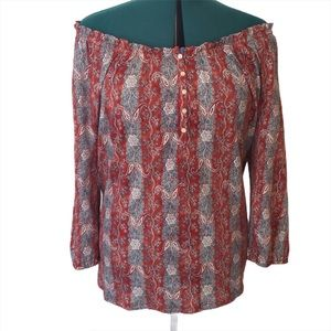 Chaps Denim Paisley Off the Shoulder Blouse, Large
